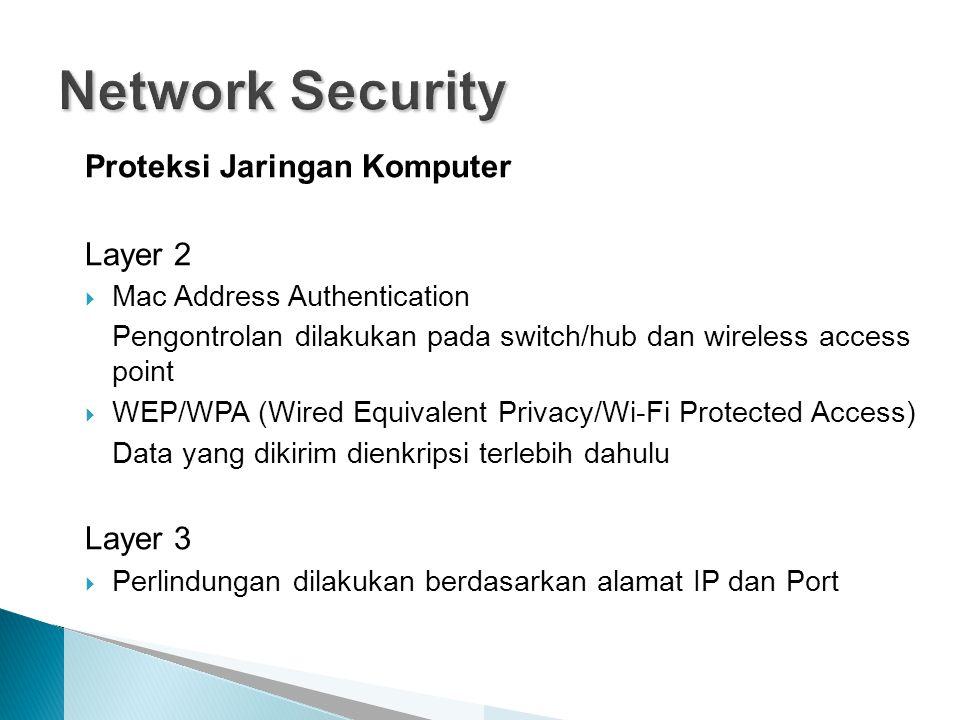 Proteksi Jaringan Komputer Layer 2  Mac Address Authentication Pengontrolan dilakukan pada switch/hub dan wireless access point  WEP/WPA (Wired Equivalent Privacy/Wi-Fi Protected Access) Data yang dikirim dienkripsi terlebih dahulu Layer 3  Perlindungan dilakukan berdasarkan alamat IP dan Port