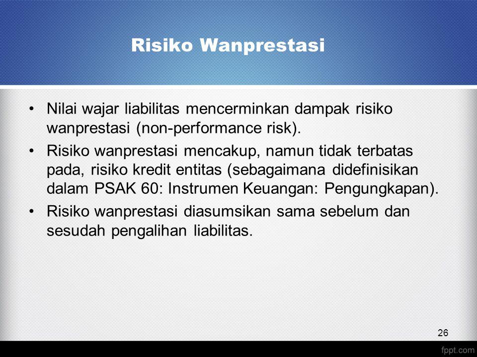 Nilai wajar liabilitas mencerminkan dampak risiko wanprestasi (non-performance risk).
