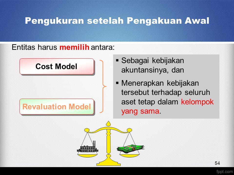 Pengukuran setelah Pengakuan Awal Entitas harus memilih antara: Cost Model Revaluation Model  Sebagai kebijakan akuntansinya, dan  Menerapkan kebijakan tersebut terhadap seluruh aset tetap dalam kelompok yang sama.