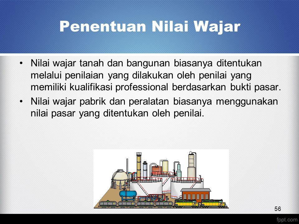 Penentuan Nilai Wajar 56 Nilai wajar tanah dan bangunan biasanya ditentukan melalui penilaian yang dilakukan oleh penilai yang memiliki kualifikasi professional berdasarkan bukti pasar.