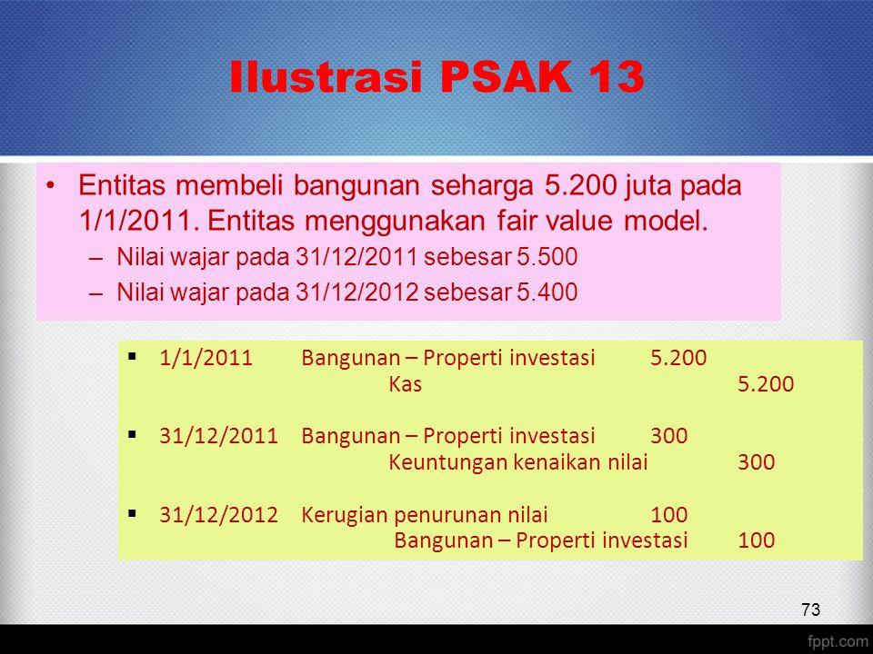 Ilustrasi PSAK 13 Entitas membeli bangunan seharga 5.200 juta pada 1/1/2011.