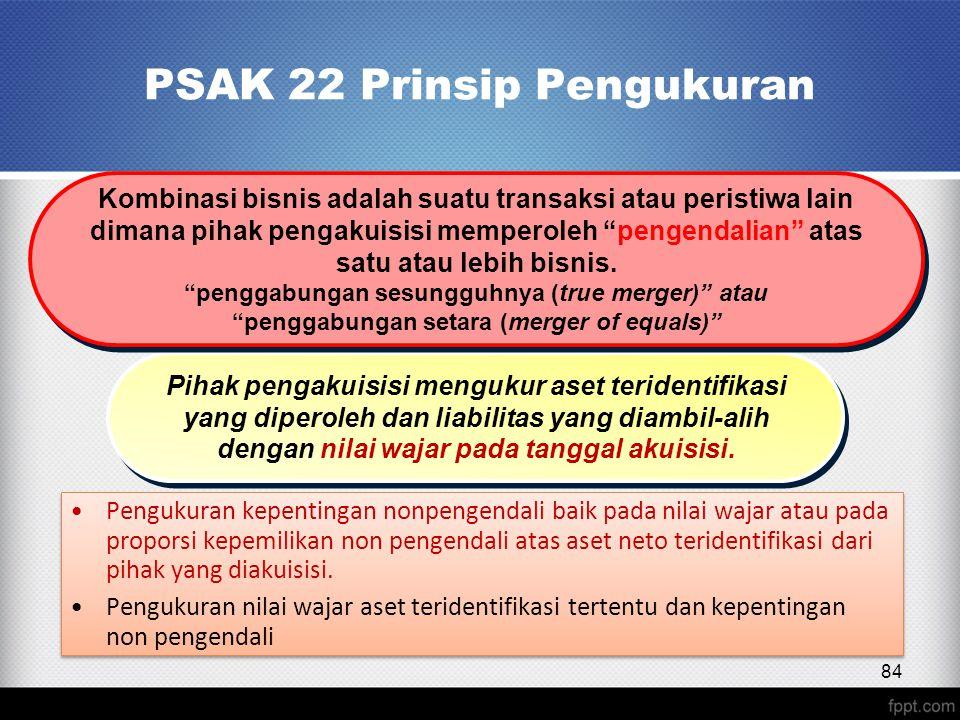 PSAK 22 Prinsip Pengukuran Pengukuran kepentingan nonpengendali baik pada nilai wajar atau pada proporsi kepemilikan non pengendali atas aset neto teridentifikasi dari pihak yang diakuisisi.