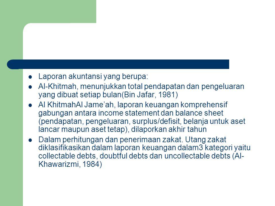Laporan akuntansi yang berupa: Al-Khitmah, menunjukkan total pendapatan dan pengeluaran yang dibuat setiap bulan(Bin Jafar, 1981) Al KhitmahAl Jame'ah