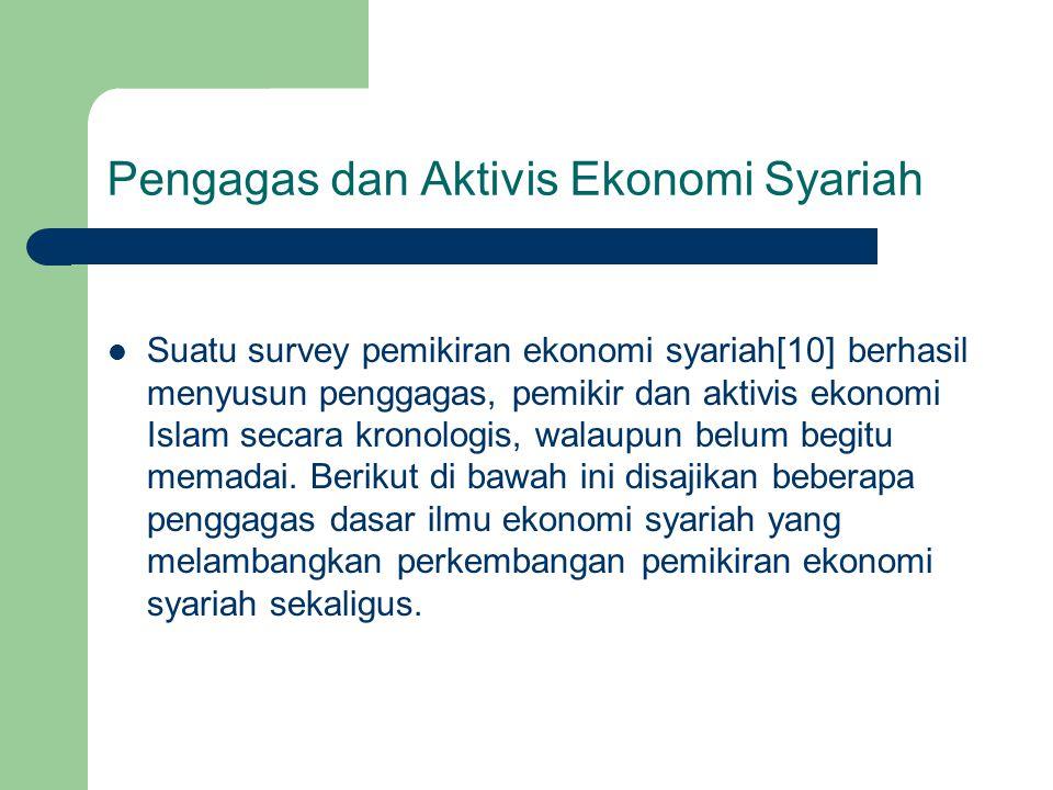 Pengagas dan Aktivis Ekonomi Syariah Suatu survey pemikiran ekonomi syariah[10] berhasil menyusun penggagas, pemikir dan aktivis ekonomi Islam secara