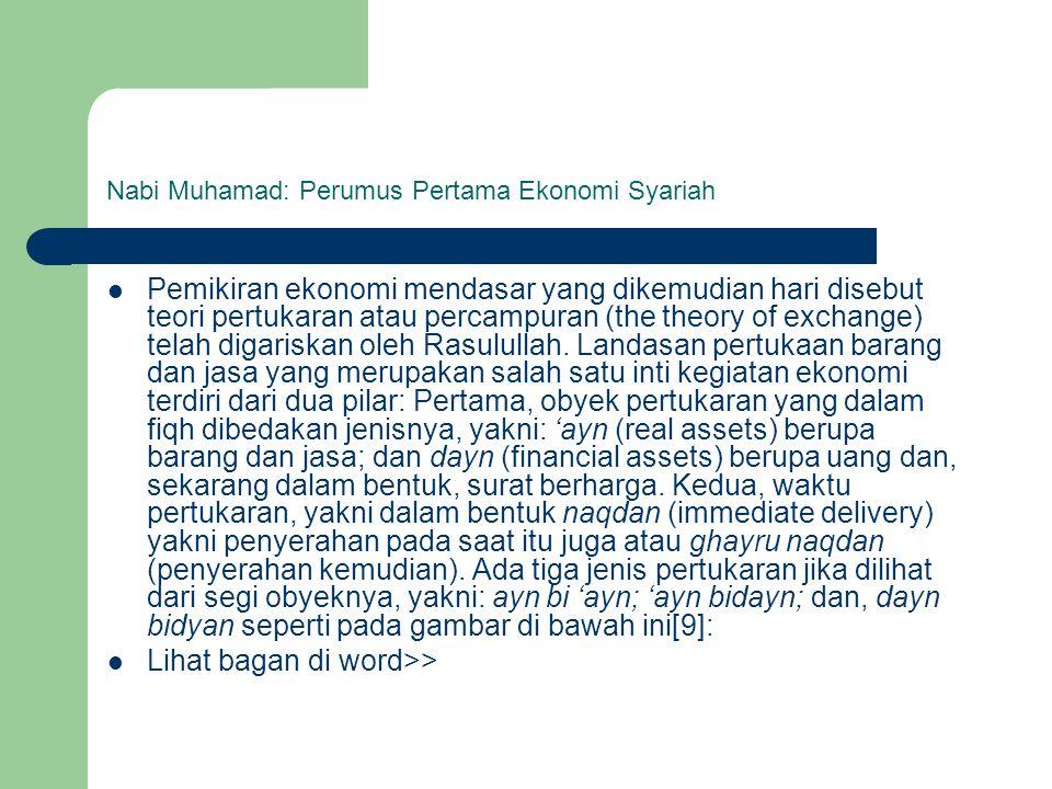 Nabi Muhamad: Perumus Pertama Ekonomi Syariah Pemikiran ekonomi mendasar yang dikemudian hari disebut teori pertukaran atau percampuran (the theory of