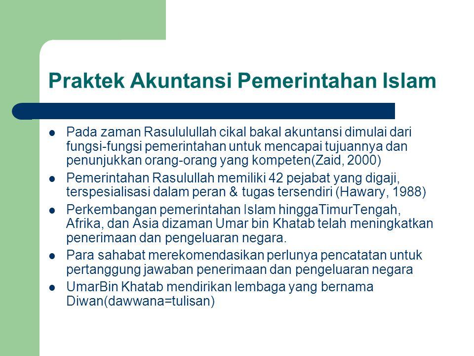 Praktek Akuntansi Pemerintahan Islam Pada zaman Rasululullah cikal bakal akuntansi dimulai dari fungsi-fungsi pemerintahan untuk mencapai tujuannya da