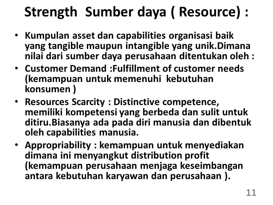 Strength Sumber daya ( Resource) : Kumpulan asset dan capabilities organisasi baik yang tangible maupun intangible yang unik.Dimana nilai dari sumber