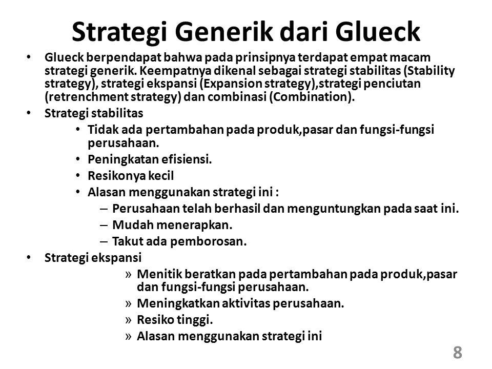 Strategi Generik dari Glueck Glueck berpendapat bahwa pada prinsipnya terdapat empat macam strategi generik. Keempatnya dikenal sebagai strategi stabi