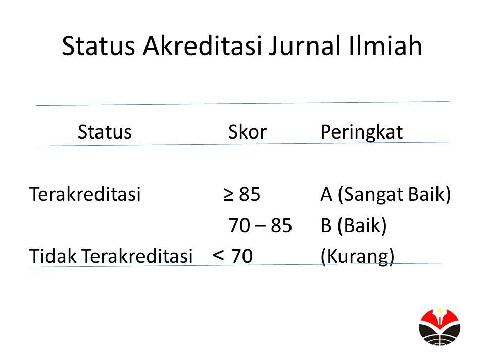 Status Akreditasi Jurnal Ilmiah Status SkorPeringkat Terakreditasi≥ 85A (Sangat Baik) 70 – 85B (Baik) Tidak Terakreditasi < 70(Kurang)