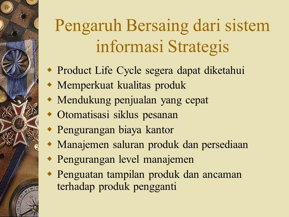 Pengaruh Industri Dari Sistem Informasi Strategis  Sifat produk dan jasa (bisa berubah)  Siklus hidup produk (bisa diperpanjang)  Skop geografis (lebih global)  Skala ekonomis dalam produksi  Perpindahan dalam tempat nilai tambah  Kekuatan menawar dari pemasok