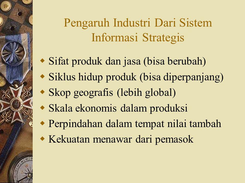 Pengaruh Industri Dari Sistem Informasi Strategis  Sifat produk dan jasa (bisa berubah)  Siklus hidup produk (bisa diperpanjang)  Skop geografis (l