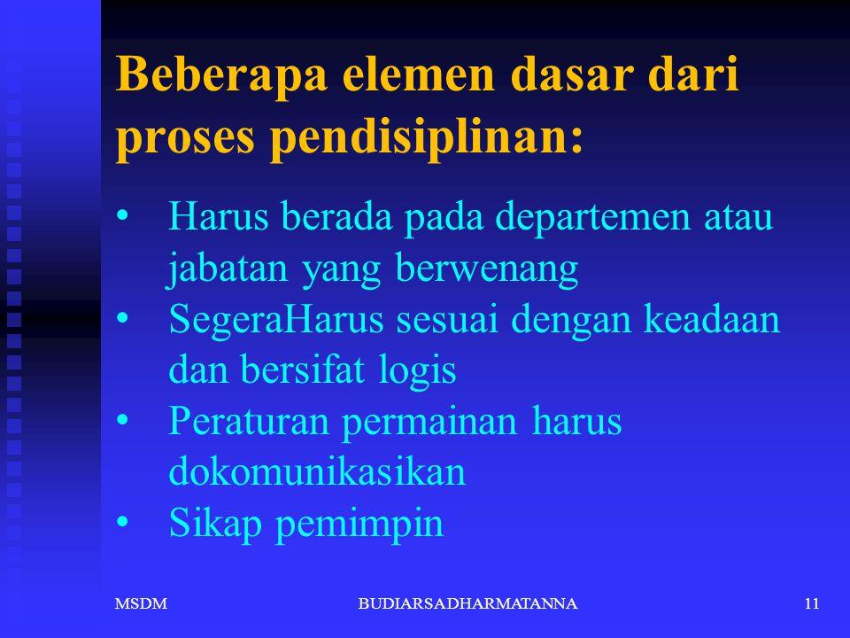 Karakteristik disiplin ? Dilakukan dengan peringatan Segera Konsisten Impersonal MSDM10BUDIARSA DHARMATANNA
