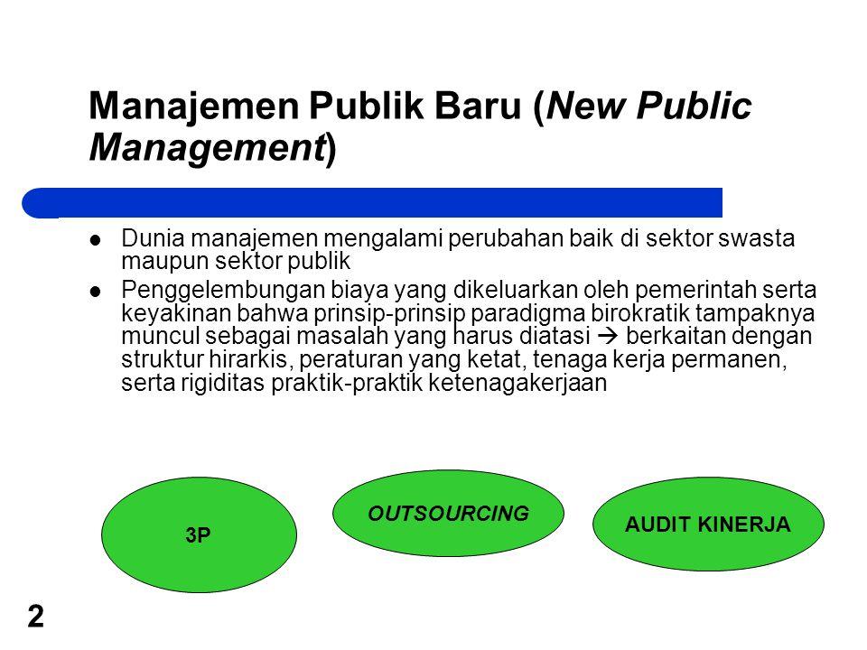 2 Manajemen Publik Baru (New Public Management) Dunia manajemen mengalami perubahan baik di sektor swasta maupun sektor publik Penggelembungan biaya y