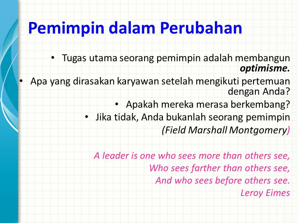 Pemimpin dalam Perubahan Tugas utama seorang pemimpin adalah membangun optimisme. Apa yang dirasakan karyawan setelah mengikuti pertemuan dengan Anda?