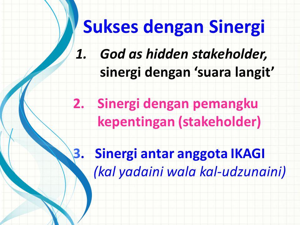1.God as hidden stakeholder, sinergi dengan 'suara langit' 2.Sinergi dengan pemangku kepentingan (stakeholder) 3. Sinergi antar anggota IKAGI (kal yad