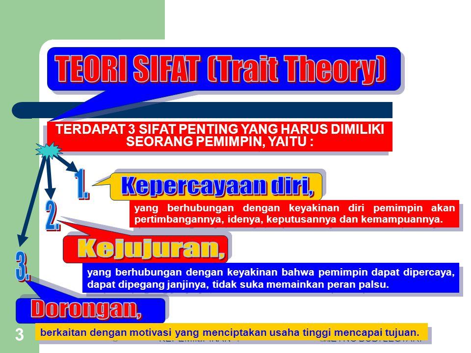 KEPEMIMPINANRETNO BUDI LESTARI 2 Menurut teori ini, individu yang memiliki sifat tertentu yang bisa menjadi pemimpin.