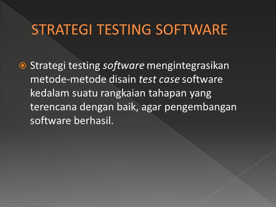  Strategi testing software mengintegrasikan metode-metode disain test case software kedalam suatu rangkaian tahapan yang terencana dengan baik, agar pengembangan software berhasil.