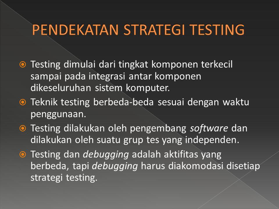  Testing dimulai dari tingkat komponen terkecil sampai pada integrasi antar komponen dikeseluruhan sistem komputer.