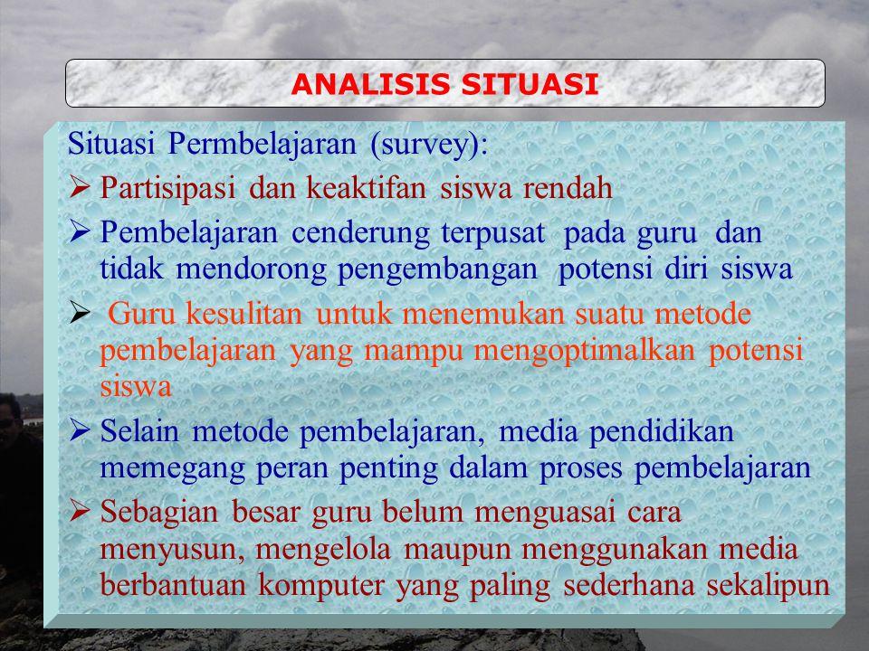 Analisis Situasi Identifikasi dan Perumusan Masalah Kerangka Pemecahan Masalah Metode Kegiatan PELATIHAN PENGEMBANGAN DAN IMPLEMENTASI MEDIA PEMBELJAR
