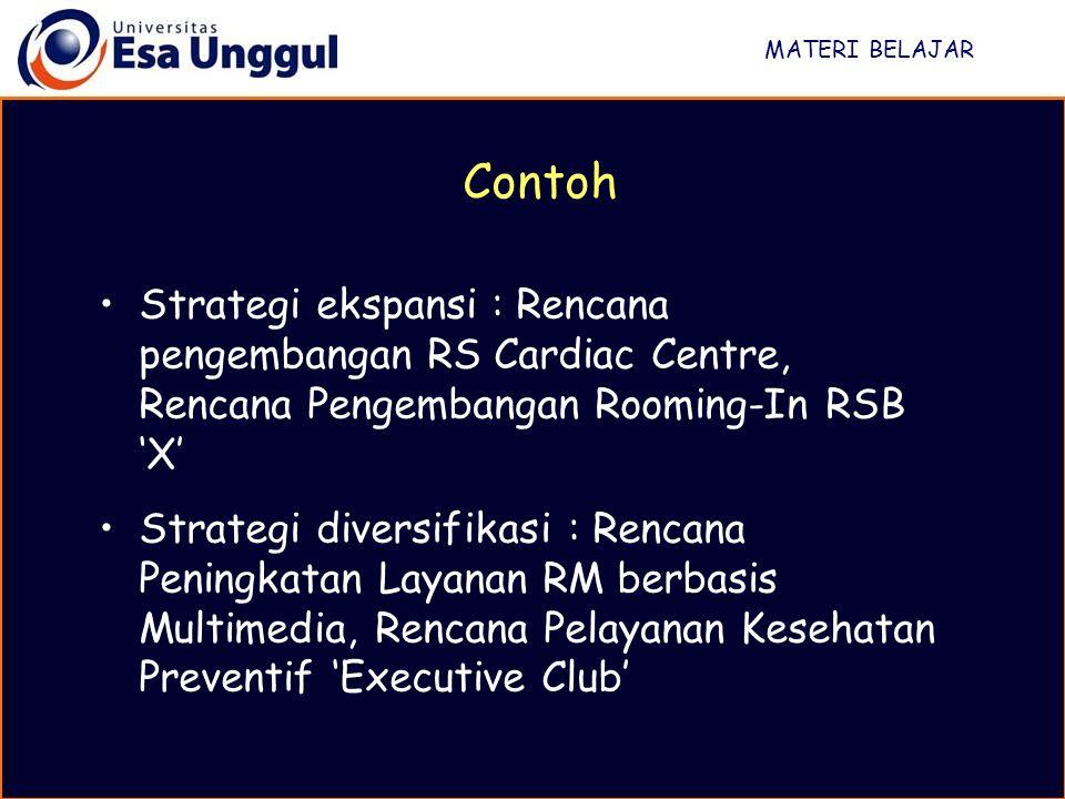 MATERI BELAJAR Strategi ekspansi : Rencana pengembangan RS Cardiac Centre, Rencana Pengembangan Rooming-In RSB 'X' Strategi diversifikasi : Rencana Pe