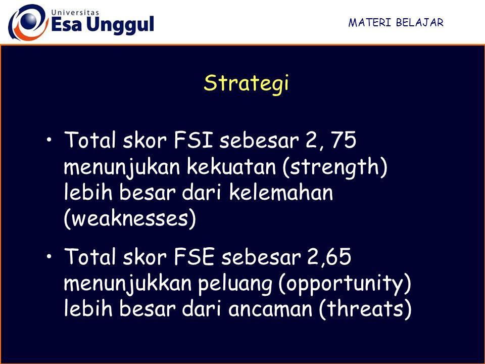 MATERI BELAJAR Total skor FSI sebesar 2, 75 menunjukan kekuatan (strength) lebih besar dari kelemahan (weaknesses) Total skor FSE sebesar 2,65 menunju