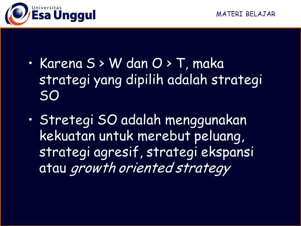 MATERI BELAJAR Karena S > W dan O > T, maka strategi yang dipilih adalah strategi SO Stretegi SO adalah menggunakan kekuatan untuk merebut peluang, st