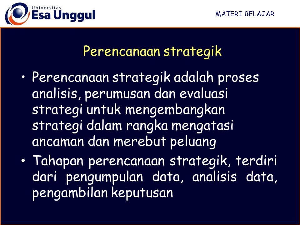 MATERI BELAJAR Karena S > W dan O > T, maka strategi yang dipilih adalah strategi SO Stretegi SO adalah menggunakan kekuatan untuk merebut peluang, strategi agresif, strategi ekspansi atau growth oriented strategy