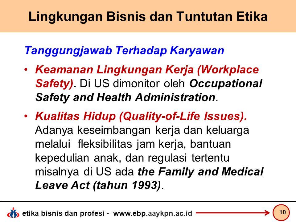 etika bisnis dan profesi - www.ebp.aaykpn.ac.id Lingkungan Bisnis dan Tuntutan Etika Tanggungjawab Terhadap Karyawan Keamanan Lingkungan Kerja (Workpl