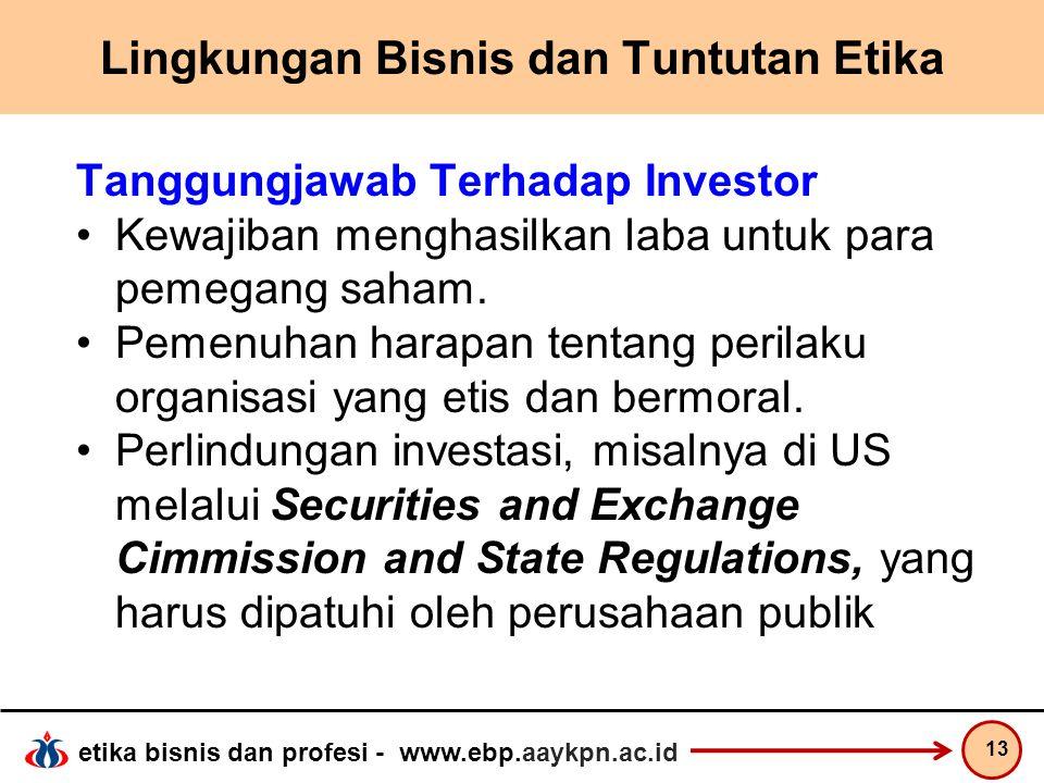 etika bisnis dan profesi - www.ebp.aaykpn.ac.id Lingkungan Bisnis dan Tuntutan Etika Tanggungjawab Terhadap Investor Kewajiban menghasilkan laba untuk
