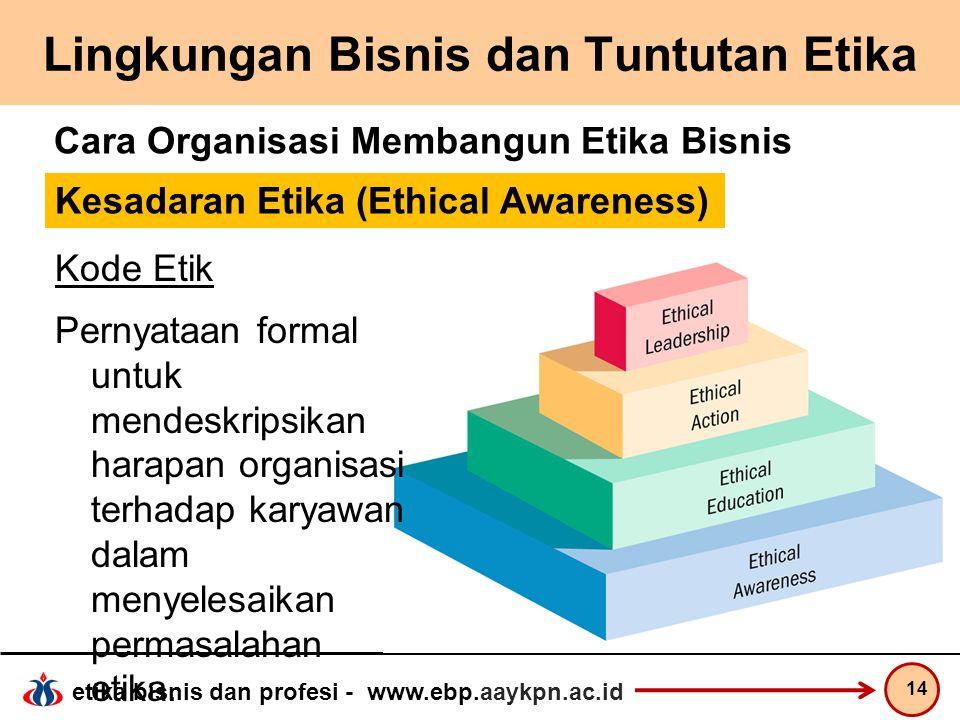 etika bisnis dan profesi - www.ebp.aaykpn.ac.id Lingkungan Bisnis dan Tuntutan Etika 14 Cara Organisasi Membangun Etika Bisnis Kode Etik Pernyataan fo