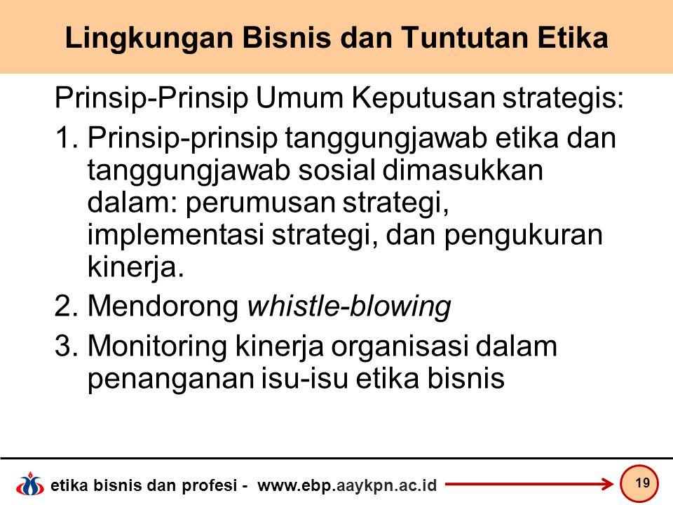 etika bisnis dan profesi - www.ebp.aaykpn.ac.id Lingkungan Bisnis dan Tuntutan Etika Prinsip-Prinsip Umum Keputusan strategis: 1.Prinsip-prinsip tangg