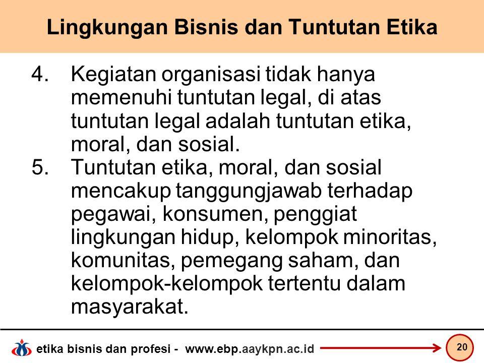 etika bisnis dan profesi - www.ebp.aaykpn.ac.id Lingkungan Bisnis dan Tuntutan Etika 4.Kegiatan organisasi tidak hanya memenuhi tuntutan legal, di ata
