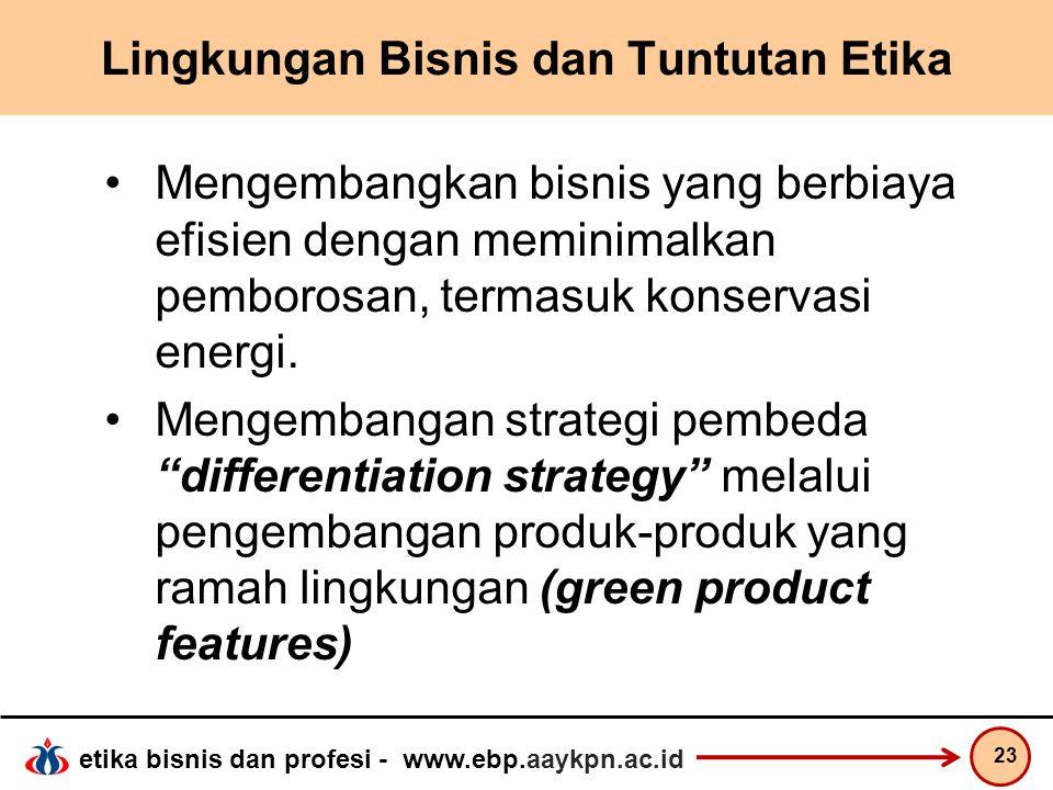 etika bisnis dan profesi - www.ebp.aaykpn.ac.id Lingkungan Bisnis dan Tuntutan Etika Mengembangkan bisnis yang berbiaya efisien dengan meminimalkan pe