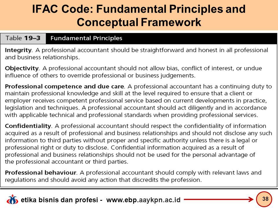 etika bisnis dan profesi - www.ebp.aaykpn.ac.id IFAC Code: Fundamental Principles and Conceptual Framework 38