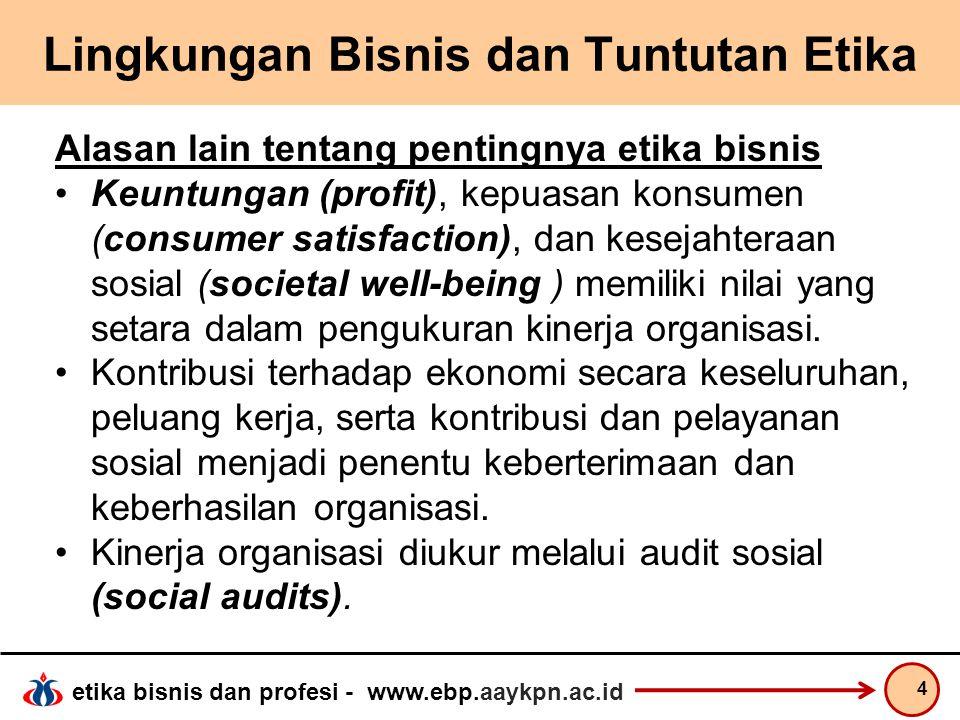 etika bisnis dan profesi - www.ebp.aaykpn.ac.id Lingkungan Bisnis dan Tuntutan Etika Alasan lain tentang pentingnya etika bisnis Keuntungan (profit),