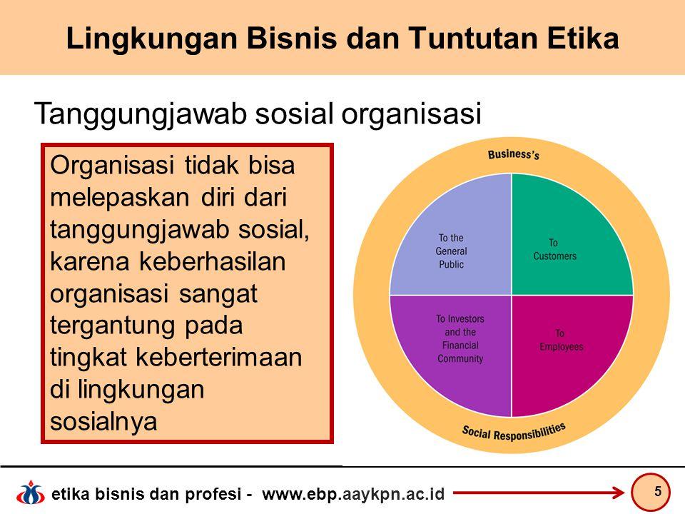etika bisnis dan profesi - www.ebp.aaykpn.ac.id Lingkungan Bisnis dan Tuntutan Etika 5 Tanggungjawab sosial organisasi Organisasi tidak bisa melepaska