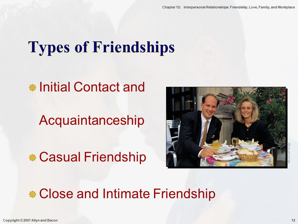 Chapter 12: Interpersonal Relationships: Friendship, Love, Family, and Workplace Copyright © 2007 Allyn and Bacon12 Types of Friendships  Initial Contact and Acquaintanceship  Casual Friendship  Close and Intimate Friendship Microsoft Image