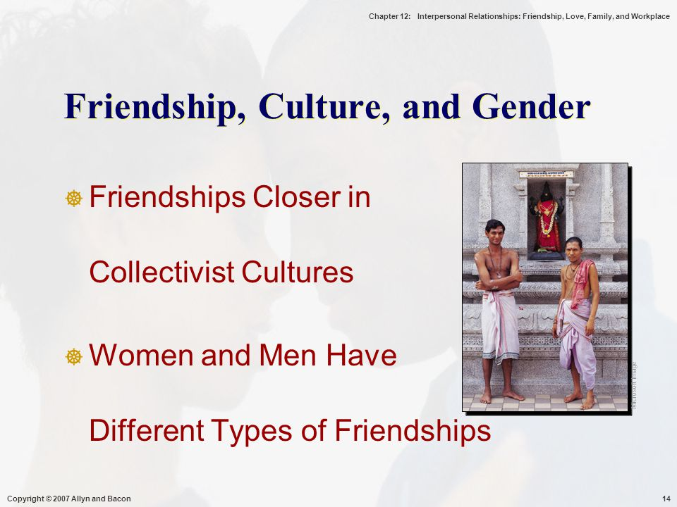 Chapter 12: Interpersonal Relationships: Friendship, Love, Family, and Workplace Copyright © 2007 Allyn and Bacon14 Friendship, Culture, and Gender  Friendships Closer in Collectivist Cultures  Women and Men Have Different Types of Friendships Microsoft Image