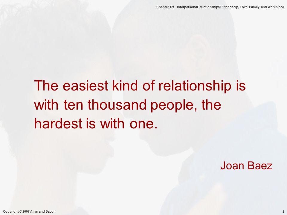 Chapter 12: Interpersonal Relationships: Friendship, Love, Family, and Workplace Copyright © 2007 Allyn and Bacon13  Kontak awal : komunikasi terjaga drpd terbuka/ekspresif, agar tdk menunjukkan aspek2 diri yg akan dipandang negatif, kemampuan empati disesuaikan dan melihat kepantasan, melihat diri terpisah, berbeda, keyakinan yg ditunjukan lebih sbg fungsi daripada persahabatan, interaksi kaku/canggung  Involvement : kesadaran, kebersamaan, komunikasi sbg kesadaran, partisipasi, kualitas interaksi interpersonal yg efektif, ketrebukaan, empati, suportive, perilaku positif, komunikasi timbal balik, melihat kebutuhan & keinginan orang lain  Close/intimate : kesatuan yg eksklusif, dukungan emosi, saling mengenal dng baik ( nilai,opini, sikap), memprediksi perilaku secara akurat, pentingnya manajemen interaksi, membaca isyarat verbal dan non verb secara akurat