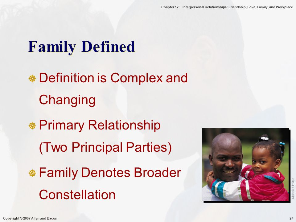 Chapter 12: Interpersonal Relationships: Friendship, Love, Family, and Workplace Copyright © 2007 Allyn and Bacon27 Family Defined  Definition is Complex and Changing  Primary Relationship (Two Principal Parties)  Family Denotes Broader Constellation Microsoft Image