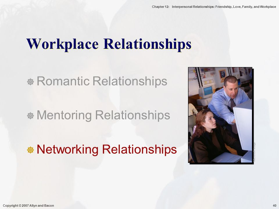 Chapter 12: Interpersonal Relationships: Friendship, Love, Family, and Workplace Copyright © 2007 Allyn and Bacon40 Workplace Relationships  Romantic Relationships  Mentoring Relationships  Networking Relationships Microsoft Image