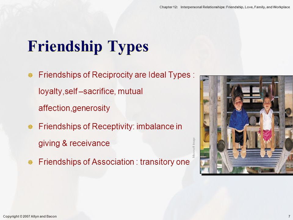 Chapter 12: Interpersonal Relationships: Friendship, Love, Family, and Workplace Copyright © 2007 Allyn and Bacon18 Love  Is a Combination of the Six Types  Changes Across Stages  Different for Different Personality Types