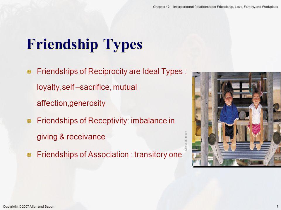 Chapter 12: Interpersonal Relationships: Friendship, Love, Family, and Workplace Copyright © 2007 Allyn and Bacon8  Tindakan timbal balik : loyal,pengorbanan diri, kasih sayang, kemurahan hati, kebersamaan, saling memberi-menerima, reward dari hubungan  Kemampuan menerima perbedaan -  seseorg sbg pemberi dan yg lain sbg penerima  Association : hubungan singkat, ramah, tidak ada kesetiaan yg besar, kepercayaan, pemberian dan penerimaan, ramah ttp tidak intens