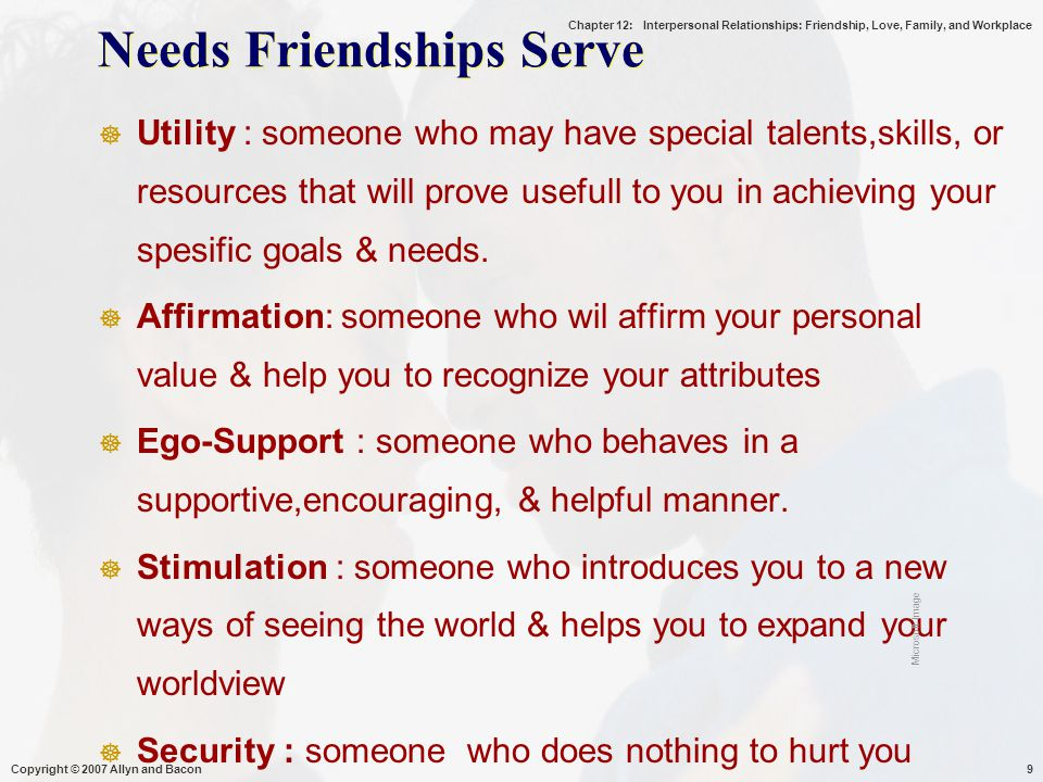 Chapter 12: Interpersonal Relationships: Friendship, Love, Family, and Workplace Characteristics of Families  Defined Roles  Recognition of Responsibilities  Shared History and Future  Shared Living Space  Established Rules Copyright © 2007 Allyn and Bacon30 Microsoft Image