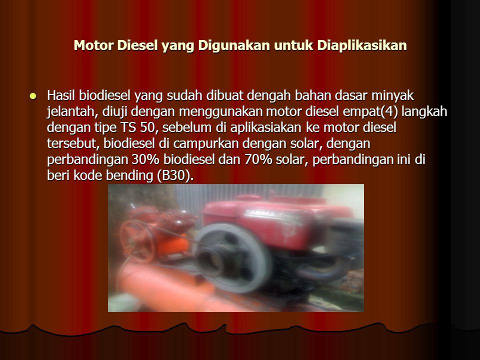 Motor Diesel yang Digunakan untuk Diaplikasikan Hasil biodiesel yang sudah dibuat dengah bahan dasar minyak jelantah, diuji dengan menggunakan motor d