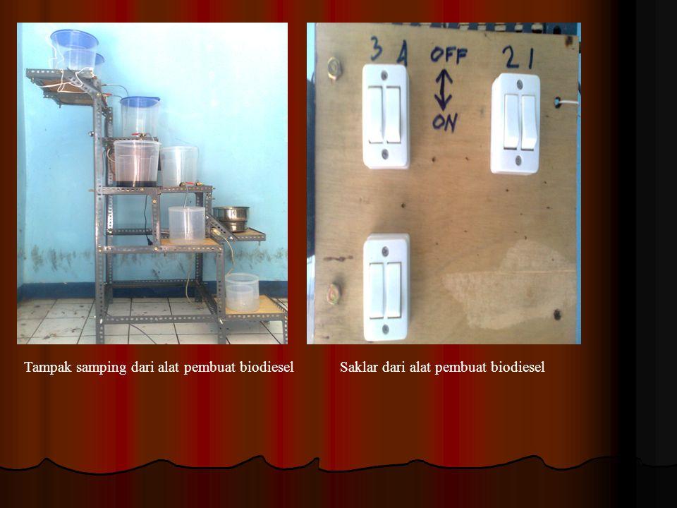 Tampak samping dari alat pembuat biodieselSaklar dari alat pembuat biodiesel