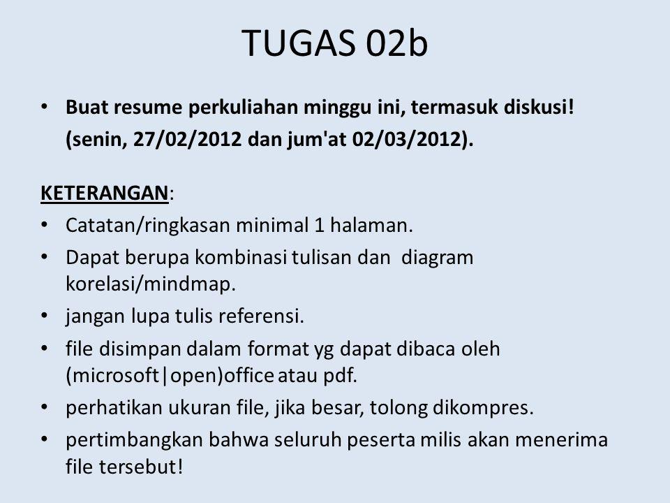 TUGAS 02b Buat resume perkuliahan minggu ini, termasuk diskusi! (senin, 27/02/2012 dan jum'at 02/03/2012). KETERANGAN: Catatan/ringkasan minimal 1 hal