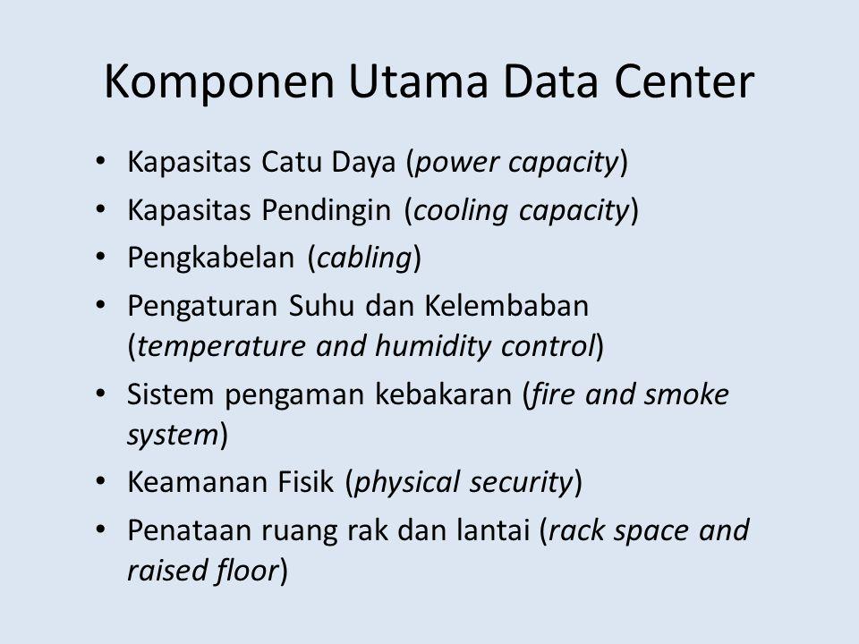 Komponen Utama Data Center Kapasitas Catu Daya (power capacity) Kapasitas Pendingin (cooling capacity) Pengkabelan (cabling) Pengaturan Suhu dan Kelem
