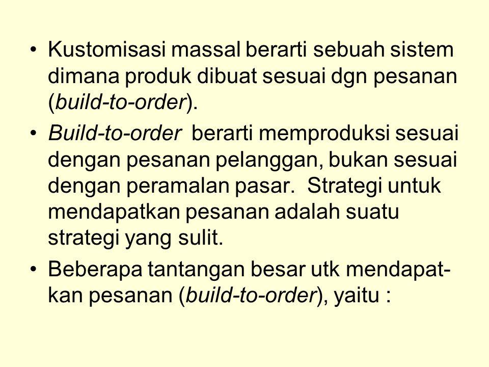 Kustomisasi massal berarti sebuah sistem dimana produk dibuat sesuai dgn pesanan (build-to-order).