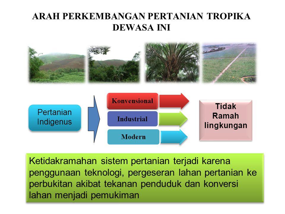 ARAH PERKEMBANGAN PERTANIAN TROPIKA DEWASA INI 10 Pertanian Indigenus Pertanian Indigenus Tidak Ramah lingkungan Tidak Ramah lingkungan Ketidakramahan